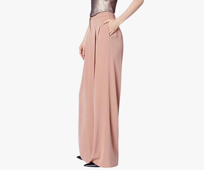 Or go with a peachy tone, with these [Bianca Spender Pilgrim wide leg pants, $395](http://www.biancaspender.com/shop/skirts-%7C-shorts/159503.1020/Peach-crepe-pilgram-wide-leg-pant.html).