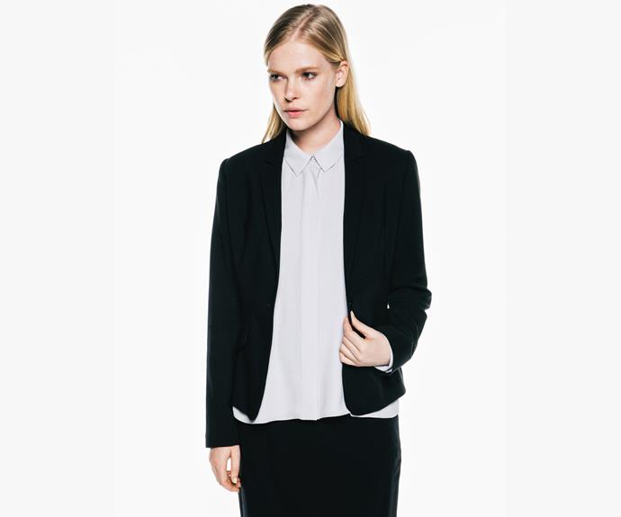 A fitted blazer is a staple in any winter wardrobe. This [Veronika Maine](https://www.veronikamaine.com.au/Products/Fine-Stretch-Wool-1-Button-Blazer-M40023-W15/139966) blazer, $295, works perfectly with a button-up or a plain t shirt.