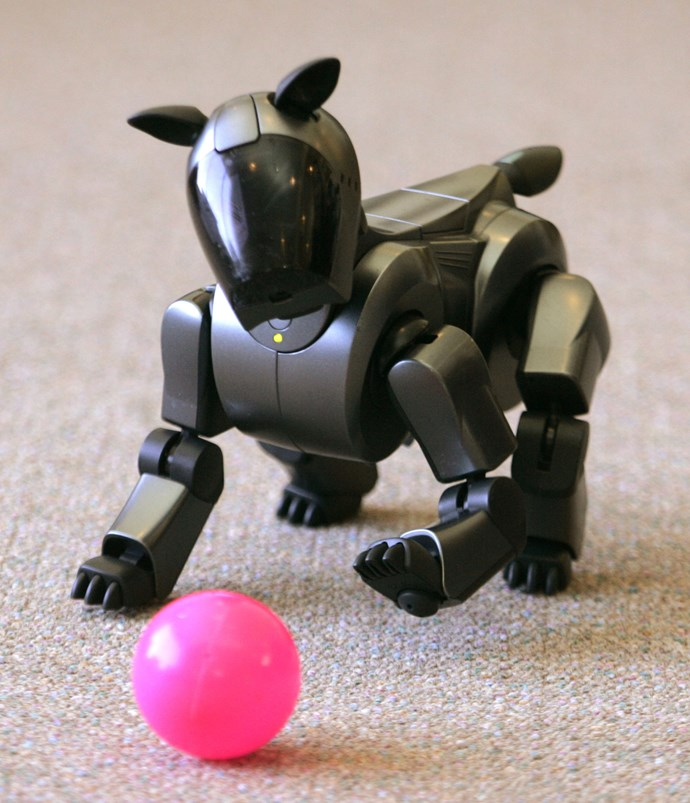 A robotic dog playing with a ball.