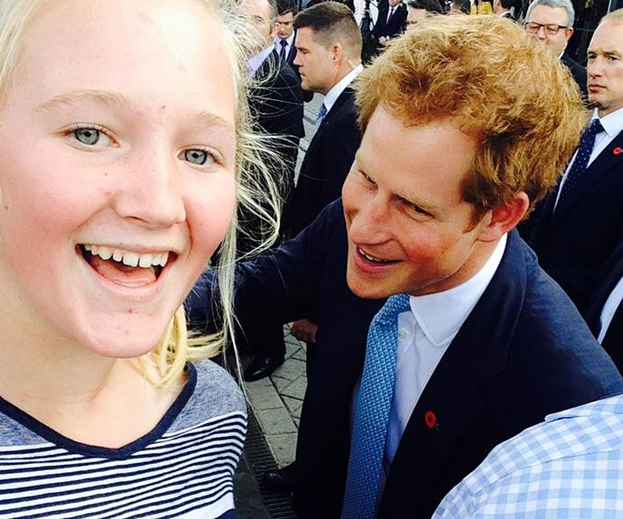 Prince Harry's selfie with Finlay Martin.