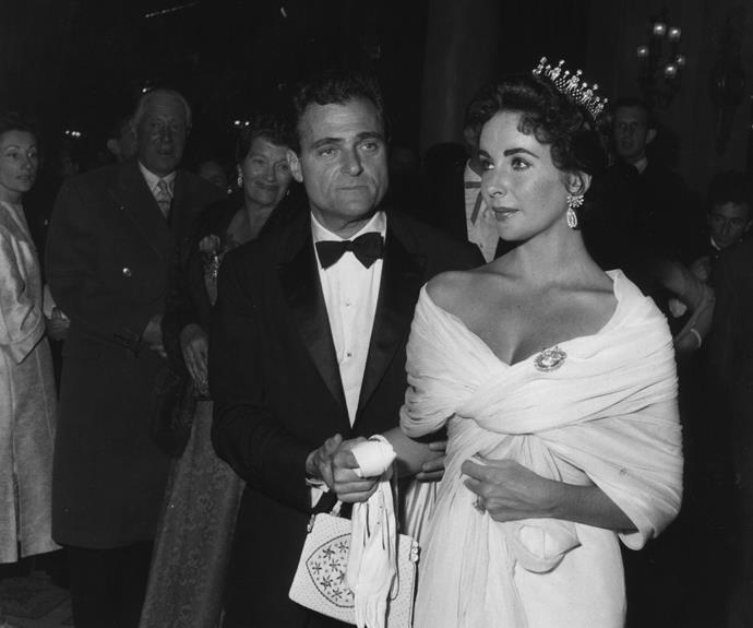 Elizabeth Taylor with her husband, producer Mike Todd at the Cannes Film Festival in 1957.