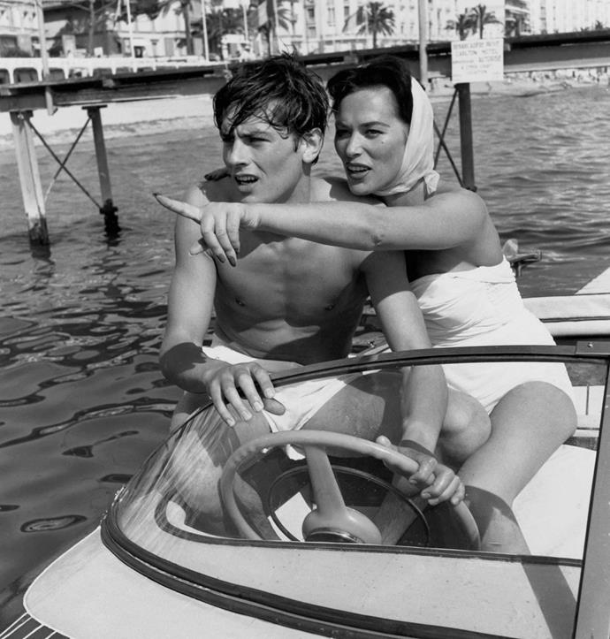 Actors Alain Delon and Bella Darvi boating during the Cannes Film Festival, 1958.