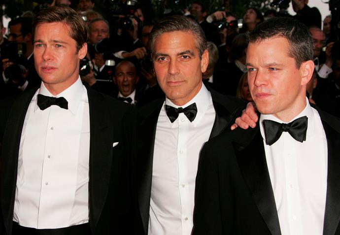 Actors Brad Pitt, George Clooney and Matt Damon attend the premiere for the film 'Ocean's Thirteen' at the Palais des Festivals during the 60th International Cannes Film Festival in 2007.