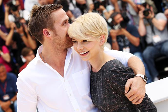 Ryan Gosling and Michelle Williams attend the *Blue Valentine* photocall at the Palais des Festivals during the 63rd Annual Cannes Film Festival, 2010.