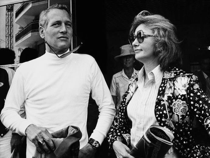 Paul Newman and wife Joanne Woodward at Cannes in 1973.