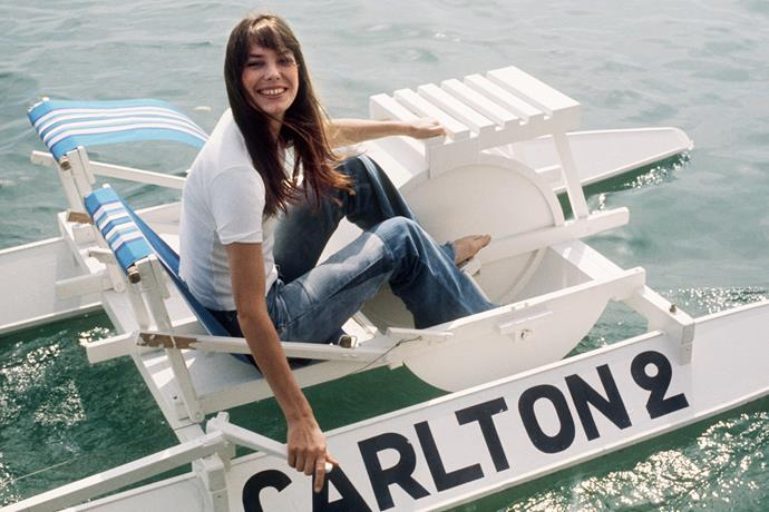 English actress Jane Birkin goes out on a pedalo during the 28th Cannes International Film Festival in May 1974.
