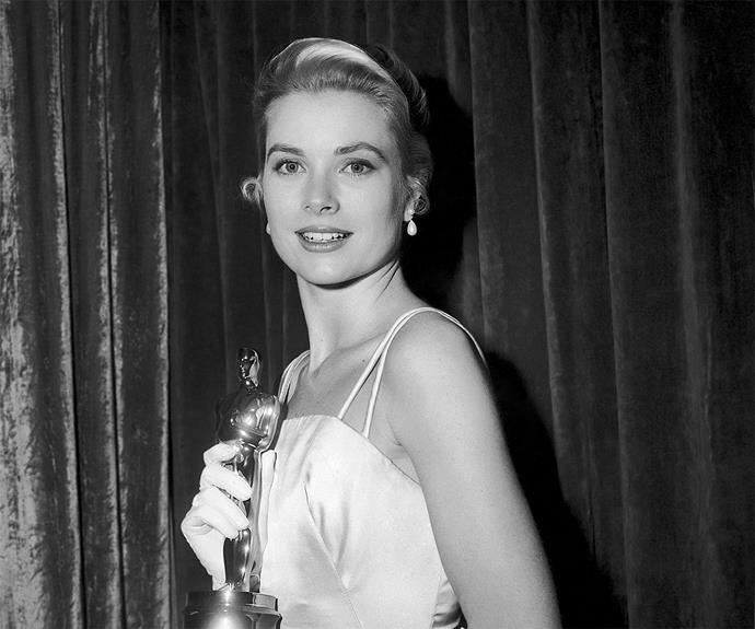 **The Princess is a country girl** Grace Kelly was the picture of elegance as she accepted her Oscar for *The Country Girl* in 1954. Kelly married Prince Rainier two years later, and became Princess Grace.