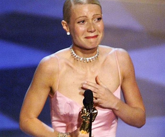 **Cry baby** Gwyneth Paltrow's acceptance speech for *Shakespeare in Love* was short and sweet - because Gwyneth couldn't get the words out. The actress was so teary, her speech had to be cut short.