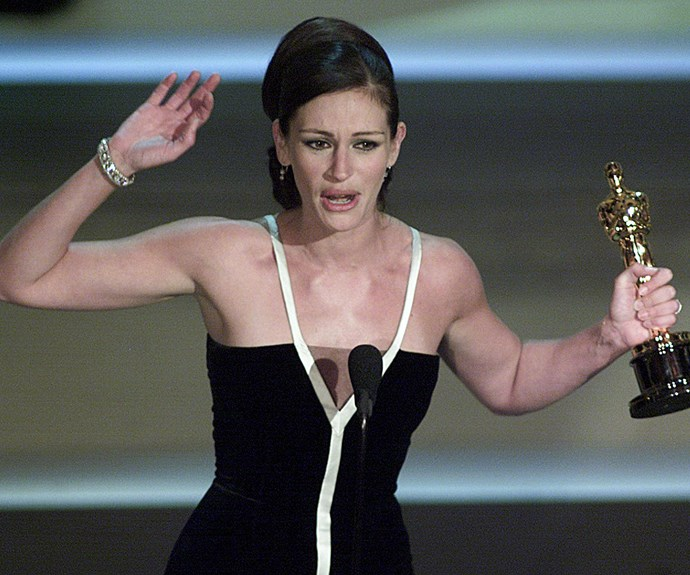 """**Thank you, thank you, thank you** An emotional Julia Roberts couldn't hold it back when she won for *Erin Brockovich* in 2001. She thanked in her words """"everyone in my life"""", and jumped up and down in her almost 5 minute speech."""