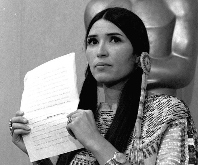 **An important message** When Marlon Brando won his Oscar for *The Godfather* in 1973, it was not the man himself who came onstage to accept it. Sacheen Littlefeather, a Native American woman, came onstage at his request and made a statement about the 'Wounded Knee' incident. The host told her if she wasn't off the stage in 60 seconds, he would have her arrested. She was booed off stage.