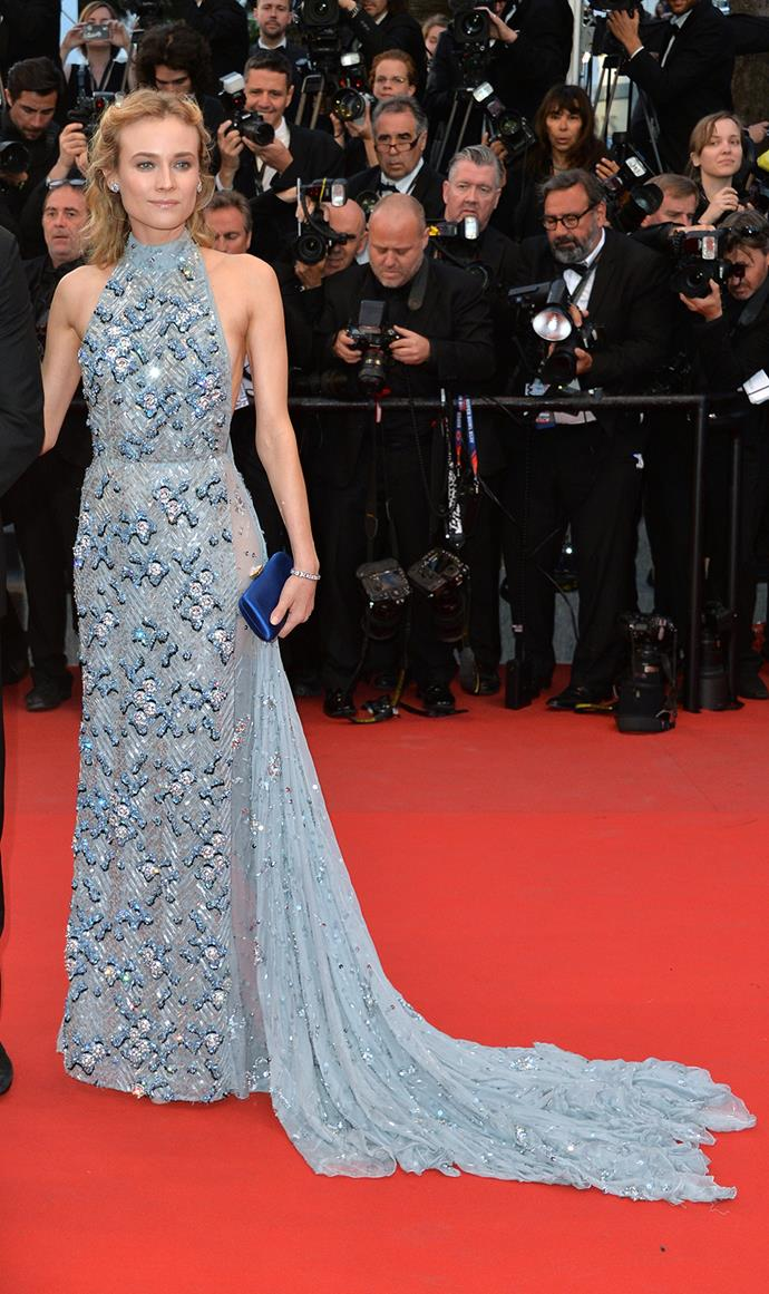 Diane Kruger shimmered in this pale blue Prada gown.
