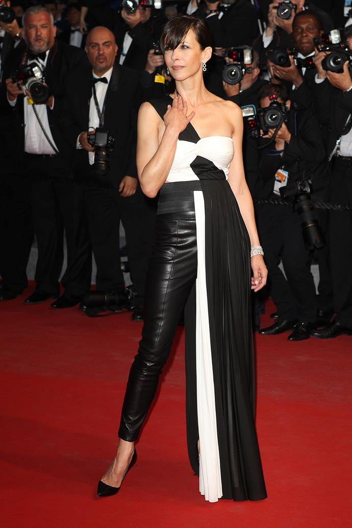 Can't decide between leather pants and a dress? Take your cue from Sophie Marceau.