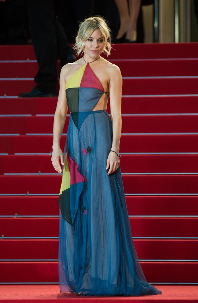 Going for a 'circus' theme, Sienna Miller wore this Valentino Couture dress with kite appliqués.