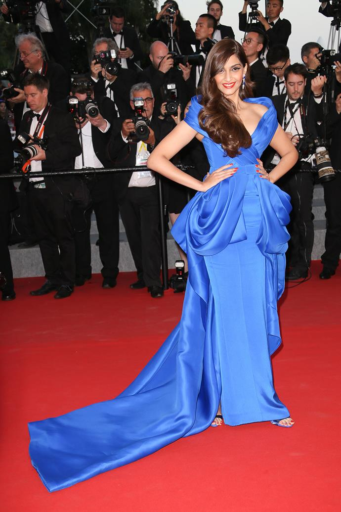 Sonam Kapoor's hourglass gown with exaggerated hips was dramatic, to say the least.