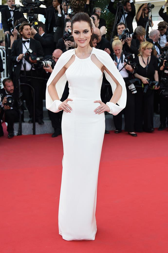 Fahriye Evcen embraced the cut out trend, with her billow-y sleeves.