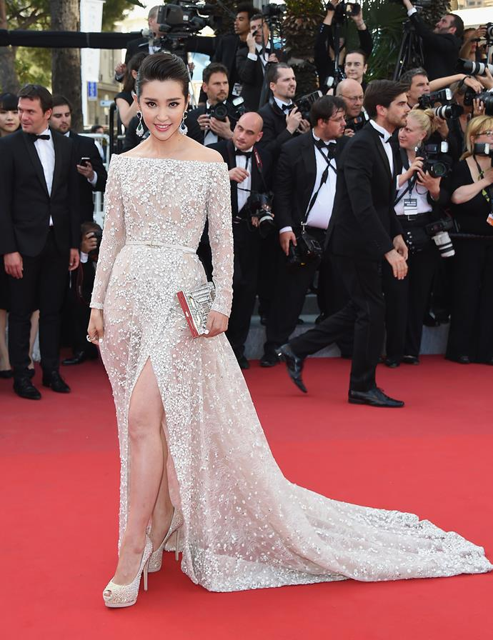 In yet another embellished gown, Li Bingbing went for a dress reminiscent of a bridal gown.