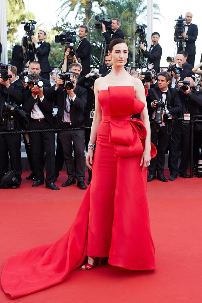 Red dress, red shoes, red carpet, Erin O'Connor was a bit of an eyesore in her Ralph & Russo gown.
