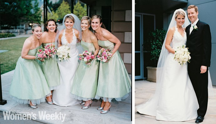 The happy bride flanked by her bridesmaids (from left) Georgie's sisters, Katie Ireland and Elizabeth Kyle, and friends Jessica Rowe and Suzanne Julian. Right: Georgie and Tim on their wedding day.