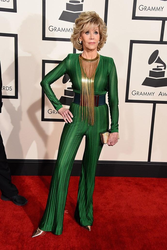 Jane Fonda in Balmain at the 2015 Grammy awards.