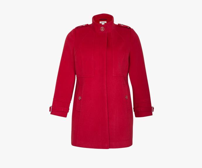 [beme Long Sleeved Buckle Coat](http://www.beme.com.au/clothing/jackets-/-coats/beme-long-sleeve-buckle-detail-coat/p3611/col-red), $129.99.