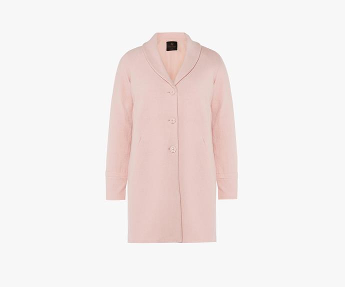 [David Lawrence Cocoon coat](http://www.davidlawrence.com.au/DL-product-detail.html?styl=17606&clr=PALE%20PINK&cat=167#.VV0oI0-eDRY), $349.