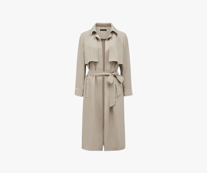 [Forever New Jaye Drapey trench](http://www.forevernew.com.au/jaye-drapey-trench-22775801?colour=stone), $139.99.