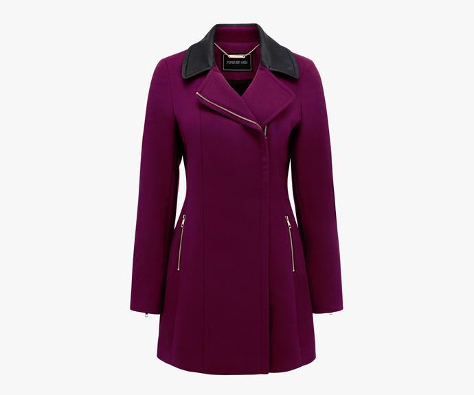 [Forever New Gemma Lux Biker Coat](http://www.forevernew.com.au/gemma-lux-biker-coat-23028301?colour=mulberry), $139.99.