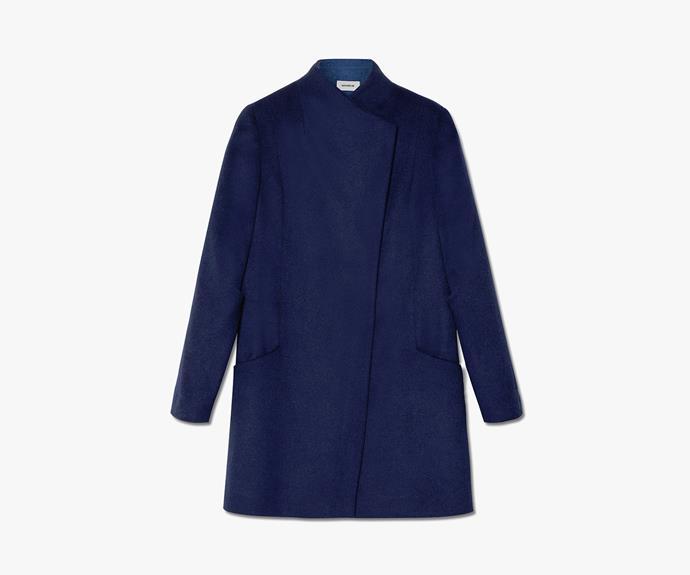 [Marcs Melton Contrast Funnel Neck Coat](http://www.marcs.com.au/product-detail.html?styl=17294&clr=INK/BLUE&cat=656#.VV0pJ0-eDRY), $399.