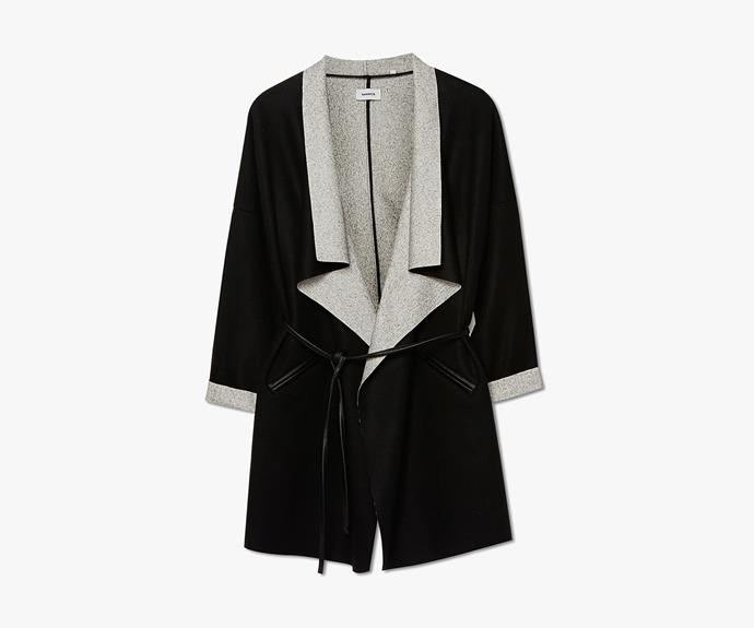 [Marcs Doubled Faced Unlined Belted Coat](http://www.marcs.com.au/product-detail.html?styl=17288&clr=BLK/IVORY&cat=656#.VV1iYPmqpBd), $229.