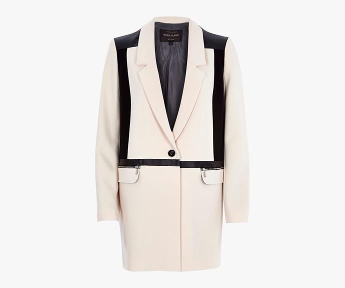 [River Island Cream Contrast Panel Longline Jacket](http://au.riverisland.com/women/coats--jackets/coats/cream-contrast-panel-longline-jacket-671166), $130.00.