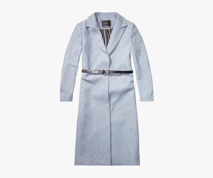 [Scotch & Soda Classic Long Jacket](http://webstore.scotch-soda.com.au/women/jackets/long-80s-punk-inspired-jacket-sold-with.html?color=Storm+Blue+Mel+), $479.95.