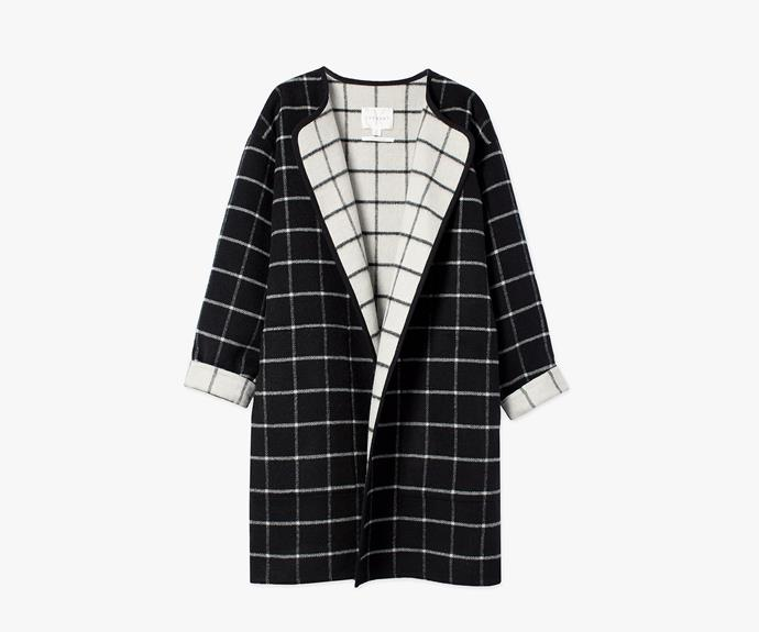 [Trenery Doubled Faced Checked Coat](http://www.trenery.com.au/shop/womenswear/clothing/jackets-and-coats/60175422/Double-Faced-Checked-Coat.html), $224.25.