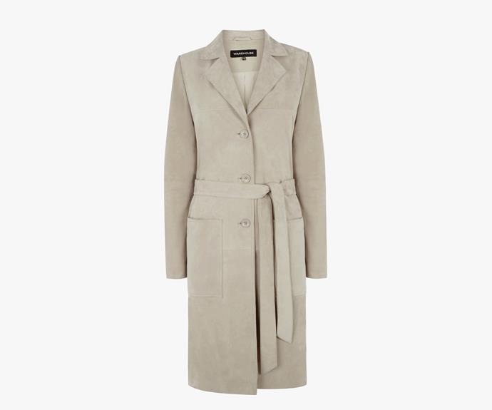 [Warehouse Suede Duster Jacket](http://warehouse.andotherbrands.com/suede-duster-jacket-en-AU?ctry=AU), $291.00.