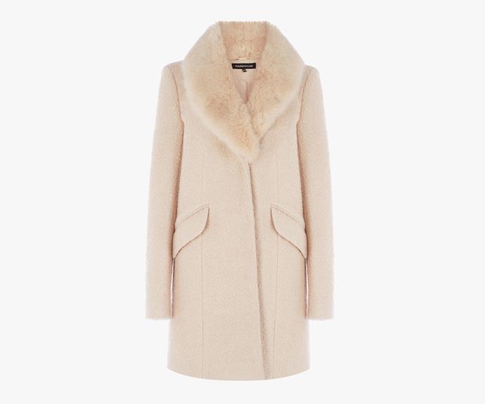 [Warehouse Tweed Faux Fur Coat](http://warehouse.andotherbrands.com/tweed-faux-fur-collar-coat-en-AU-1?ctry=AU), $58.00.