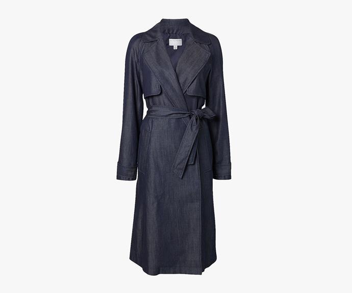 [Witchery Dark Denim Trench](http://www.witchery.com.au/shop/woman/clothing/jackets-and-coats/60180513/Dark-Denim-Trench.html), $249.95.