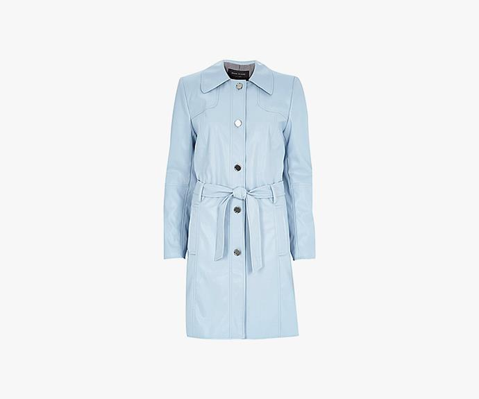 [River Island Blue Leather-Look Trench Coat](http://au.riverisland.com/women/coats--jackets/trench-coats/blue-leather-look-midi-trench-coat-670120), $130.00.