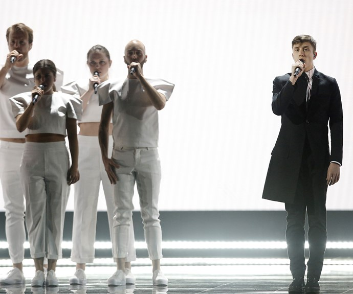 **4th place: Belgium:** Loïc Nottet's *Rhythm Inside* was a cool choice. Going against the grain, the young singer chose a dance-pop tune, and had the dance moves to match. That triple spin was podium worthy by itself.