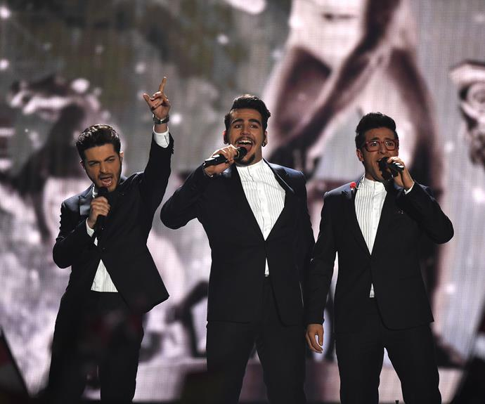 **3rd place: Italy:** If you ask us, Italy sending their award-winning Il Volo on stage as their entrant should qualify as cheating. The smooth and not-at-all bad looking trio were as suave as ever, singing opera-pop song, *Grande Amore*.