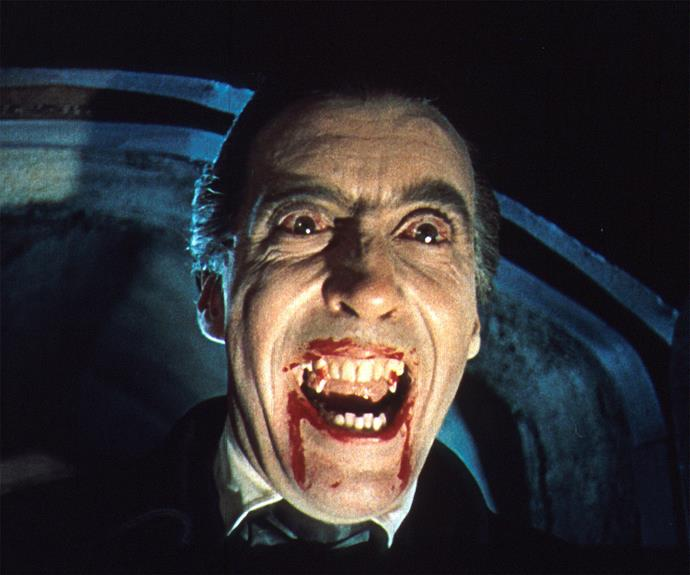 """With his impressive height (6""""5) and his blood-shot eyes, Christopher Lee's rendition of Count Dracula in **Dracula** (1958) won't be quickly forgotten."""