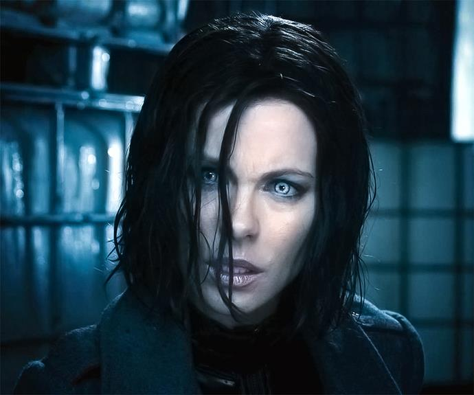 Kate Beckinsale went sexy in **Underworld**. Her character, Selene, a vampire warrior was equal parts tortured and badass.