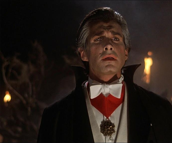 George Hamilton in 1979's **Love at First Bite** was the first actor to take the character of Dracula (Count Vladimir Dracula) and run the other way. His comedic spoof was a fun version.