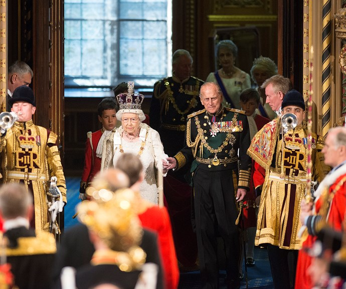 Wearing the crown jewels, and his military regalia, the pair looked very well matched.