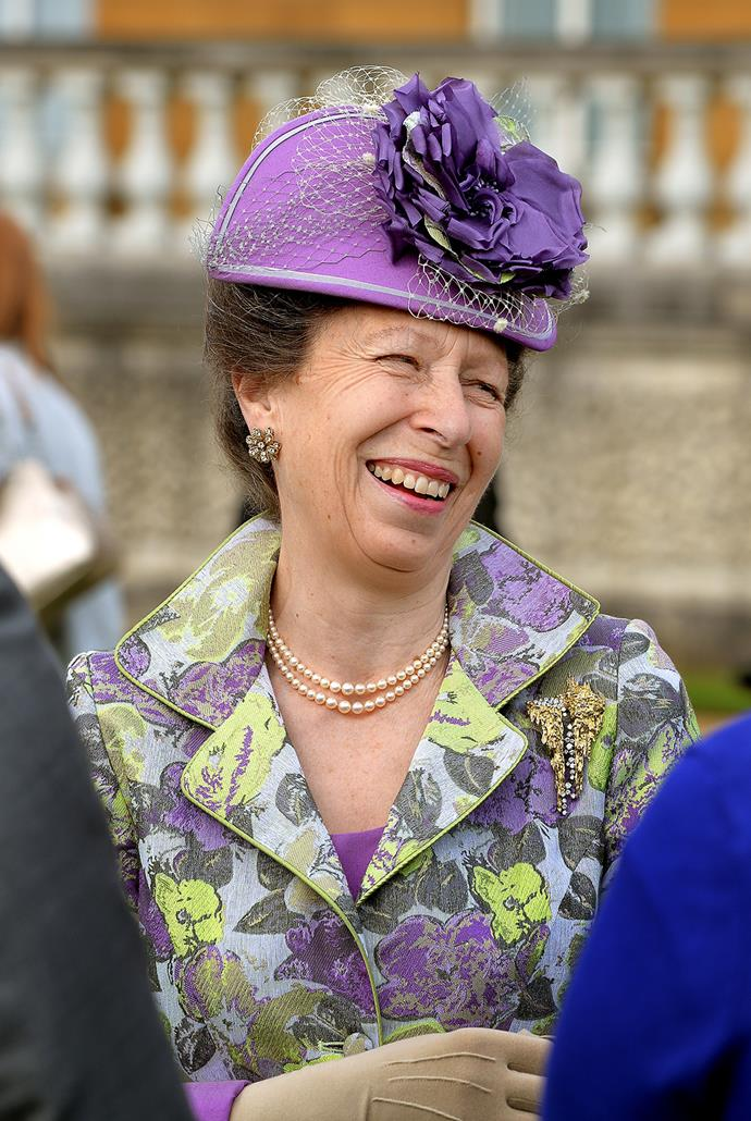 Anne, the Princess Royal, was seen laughing at a recent garden party.