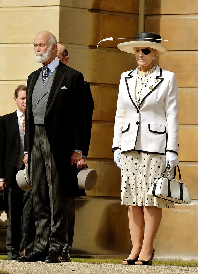She was however, out done by her great-aunt, the formidable Princess Michael of Kent. Wearing a white and black spotted dress and blazer, and looking a little bit like a chic pirate, the Princess covered an eye injury with a velvet eye patch.