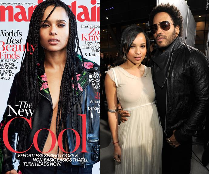 Rockstar Lenny Kravitz's daughter with ex-wife, Lisa Bonnet, has made waves. Zoe Kravitz has a string of movies under her belt (Mad Max, X-Men) and no small amount of modelling gigs to go with.