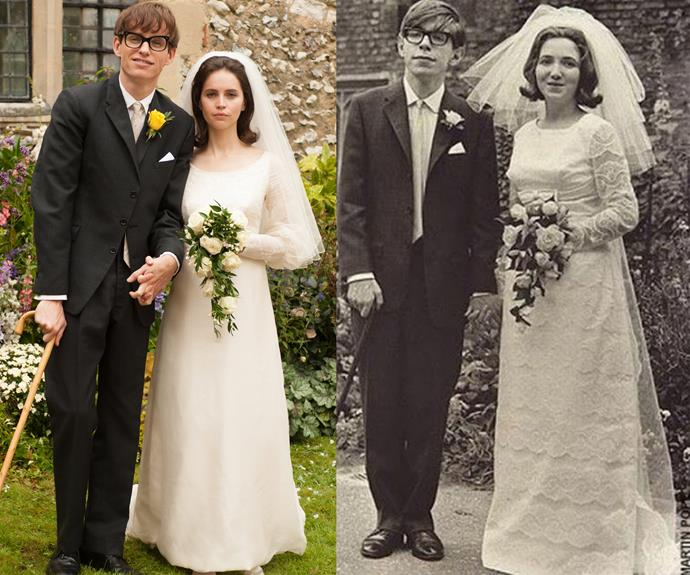 Eddie Redmayne (l) and Stephen Hawking (r) in The Theory of Everything.