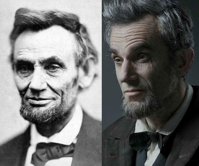 Abraham Lincoln (l) and Daniel Day Lewis (r) in Lincoln.