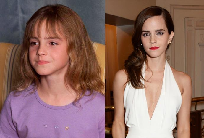 Emma Watson in 2000... And earlier this year