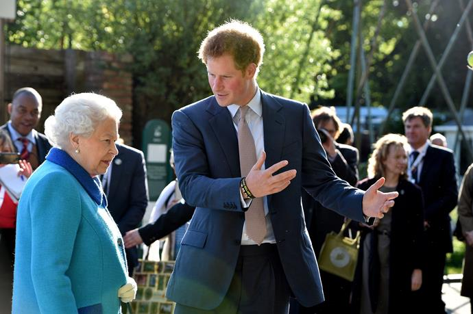At the Chelsea Garden Show, Prince Harry showed the Queen his charity's garden.
