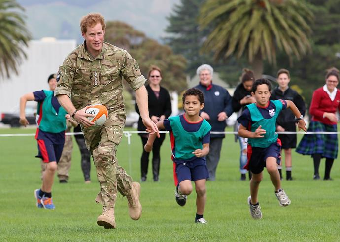 The country certainly kept him on his toes, as he played rugby with school kids also.